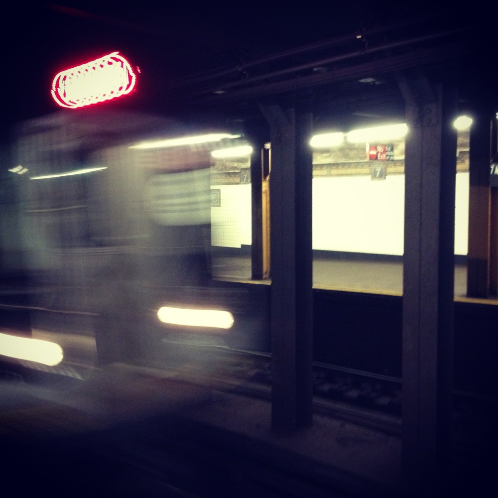 Q train at 7th Ave subway station