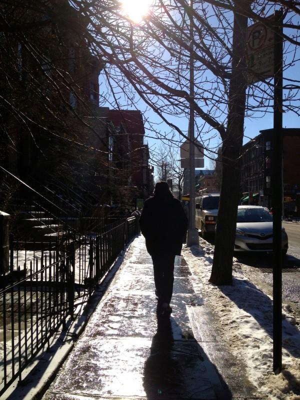 Walking on 7th Avenue Sidewalk in Winter with Snow