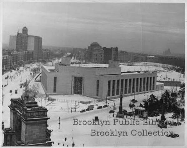 Central Library in Snow, via Brooklyn Public Libaray