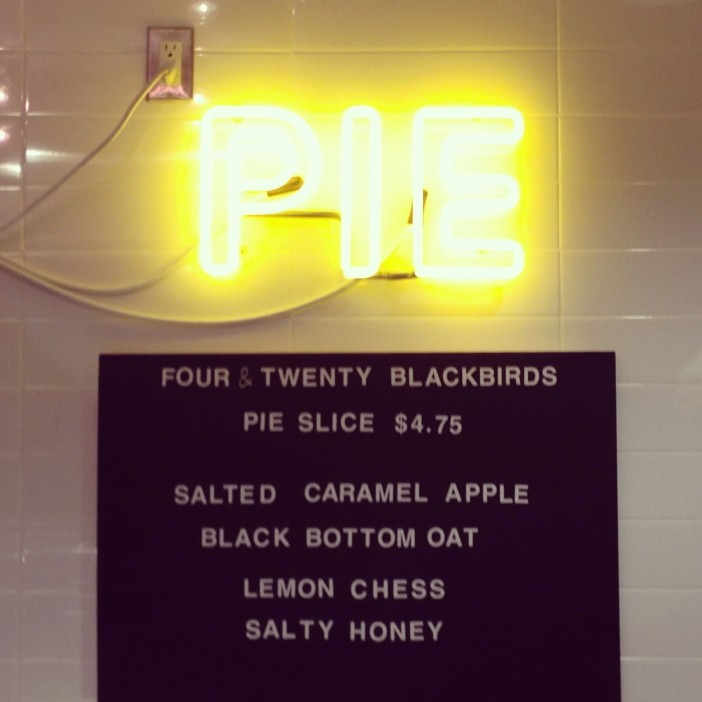 Pie neon at Four & Twenty Blackbirds Cafe at Central Library