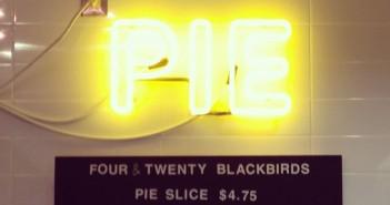 (crop) Pie neon at Four & Twenty Blackbirds Cafe at Central Library