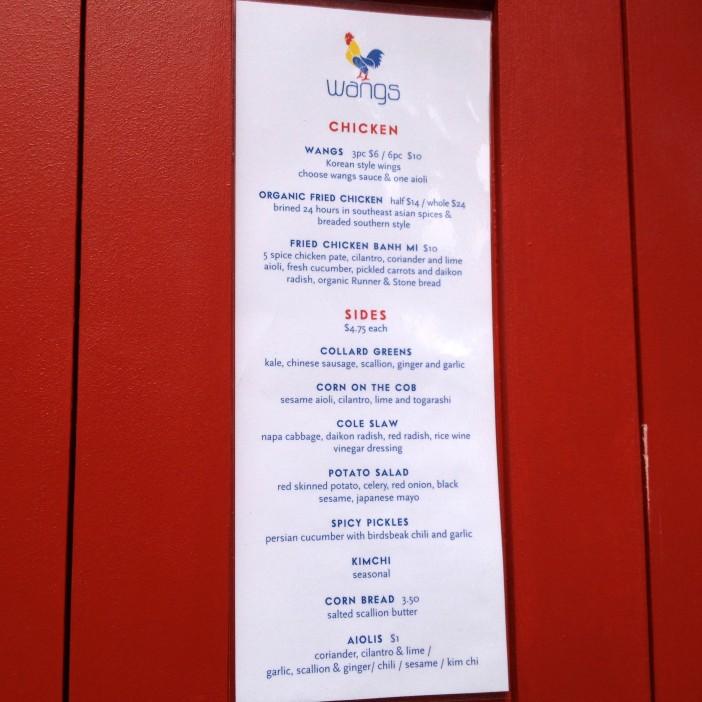 Wangs menu